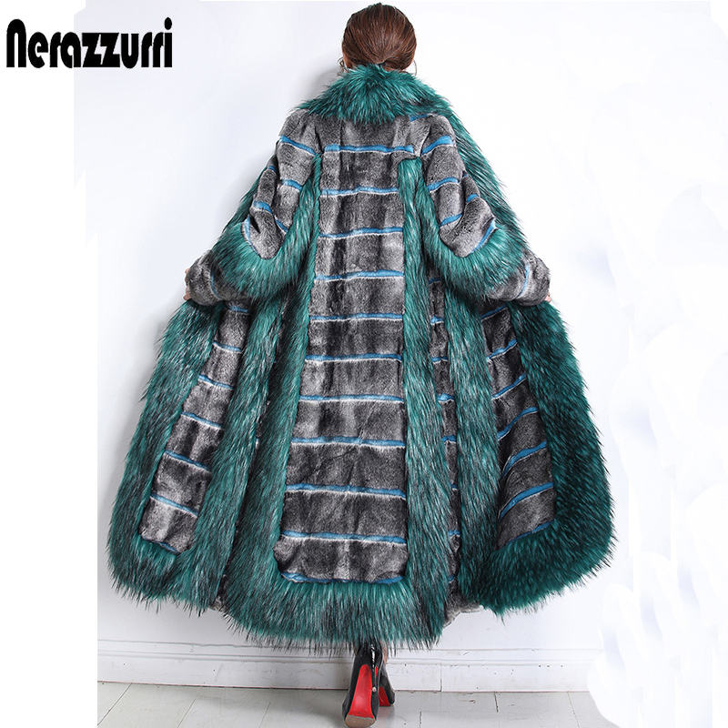 Nerazzurri Womens Winter Fashion 2019 Luxury Runway Faux Fur Coat Color Block Fluffy Furry Warm Fake Mink Overcoat Plus Size 5xl
