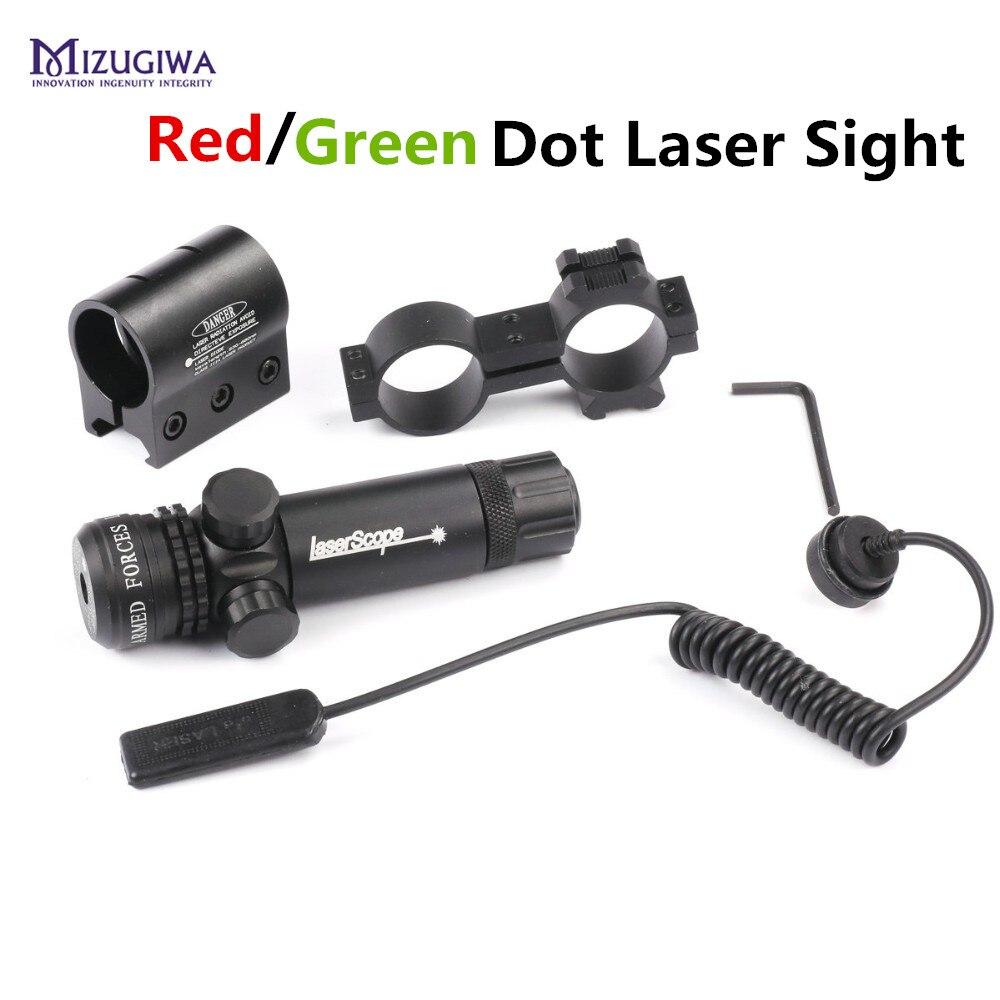 MIZUGIWA Tattica di Caccia Rosso/Laser Verde Mirino 20mm Rail Picatinny Mount Pistola Fuori Regolare Per Rifle Scope Mira Para