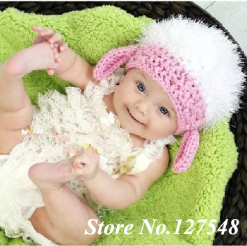 Unisex Cute Baby handmade Knit Crochet knitted young Goat baby hat newborn  baby cap 0-8 Months photograph props Free shipping a6a193979b5