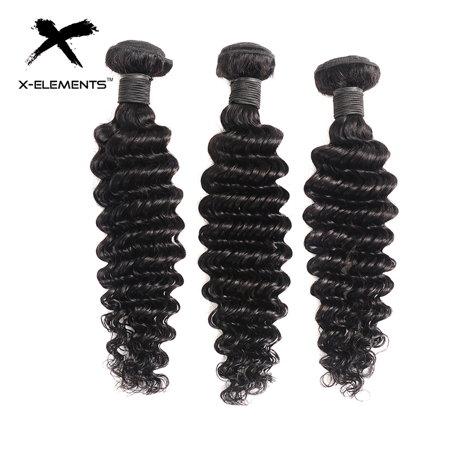 X Elements Malaysian Hair Extension Deep Wave Hair Weaves 3 Bundles Non Remy Natural Color 8