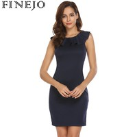 FINEJO Women Sexy Lace Patchwork Ruffled Bodycon Dress Sleeveless Round Neck Above Knee Casual Party Dresses