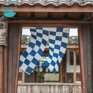 LinenAll оригинальный 100% ramie Шахматная дверь занавес katezome завод синий крашеный занавес