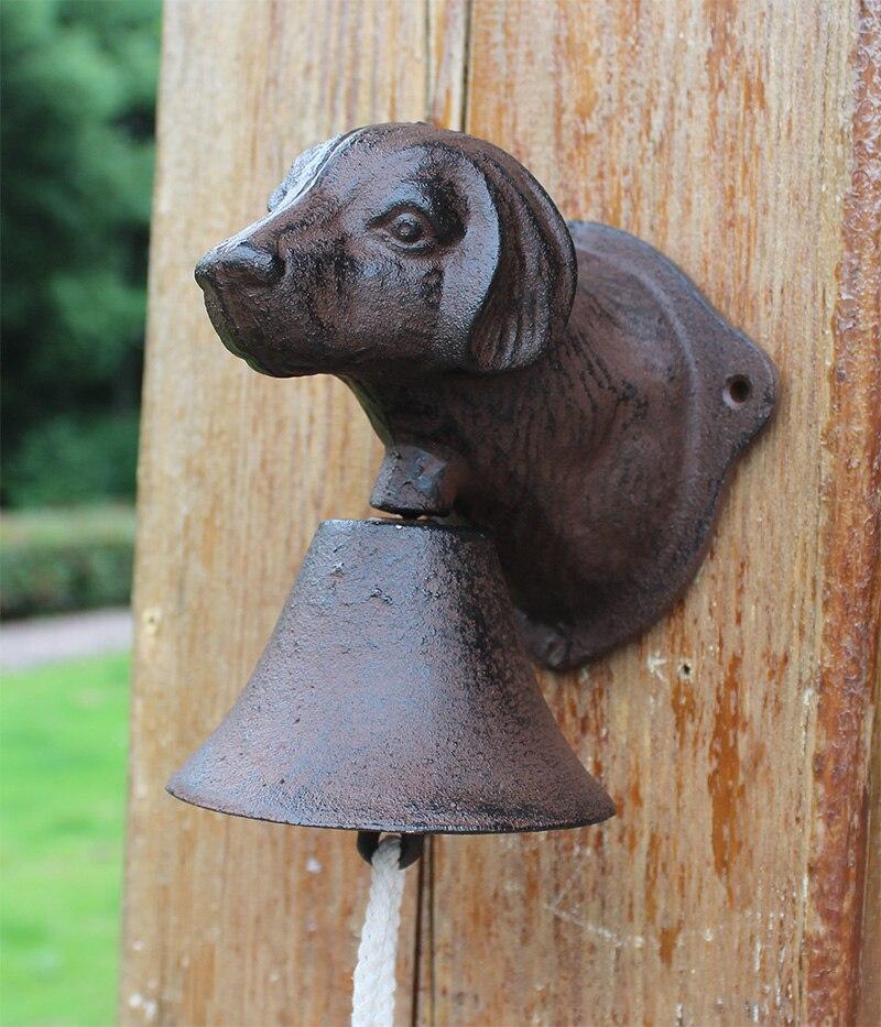 Винтажная чугунная Собачья голова Добро пожаловать обеденный звонок настенное крепление дверной звонок двухсторонний Кантри Металлический висящий колокольчик животный домик ферма