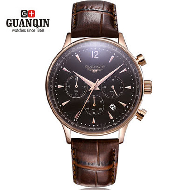 ФОТО 2016 GUANQIN Chronograph Watch Men Fashion Luxury Brand Watch Large Dial Design Quartz Watch Male Military Watch casual clock