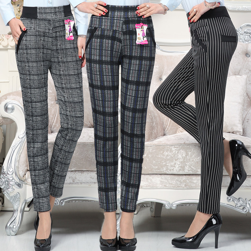 Large Size 2018 Autumn Women Grid Pants Sweat Plus Mother Pants Slim High Waist Stretch Pencil Pants Female Trousers