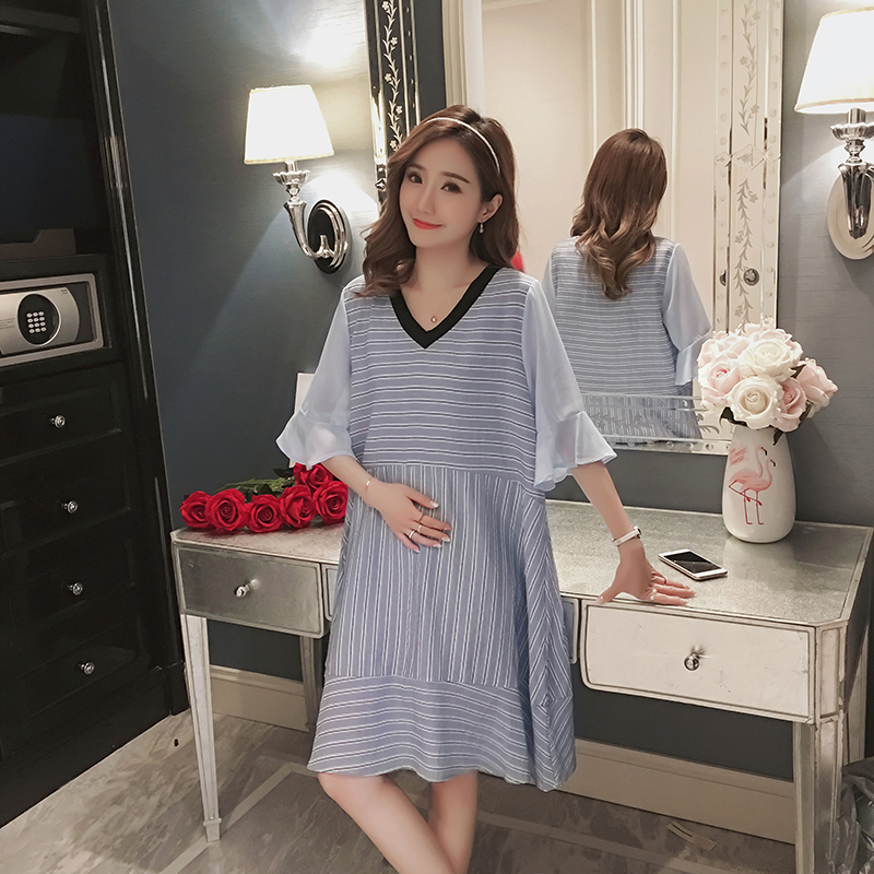 Striped Maternity Clothing Preppy Style Pregnancy Dress Loose Patchwork Cotton Maternity Clothes For Pregnant Women Vestidos