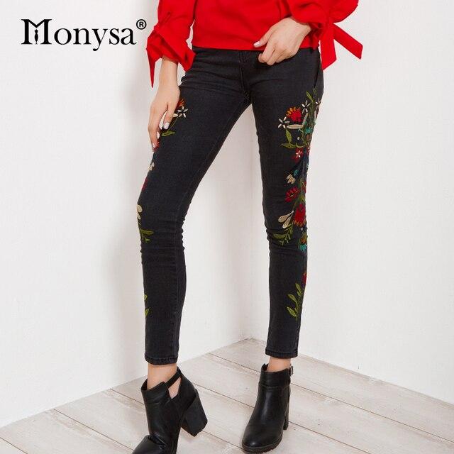 Pantalones vaqueros ajustados mujer 2018 Otoño Invierno recién llegados bordado Floral pantalones vaqueros largos Mujer moda lápiz pantalones Streetwear