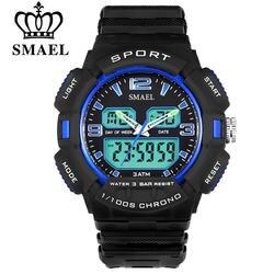 Smael человек кварцевые цифровые электронные нескольких часовых поясов LED Дисплей часы Для Мужчин's Спортивные часы мужской часы
