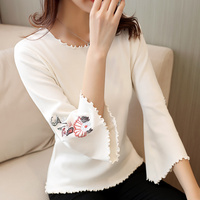 Women Knitted Shirt Flare Sleeve 2018 Spring And Summer Female Three Quarter Sleeve T Shirt Korean