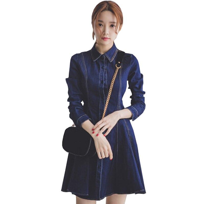 1ba820ef0e3 high quality plus size 5XL denim dress clothing women Jeans dress Long  sleeve elegant spring slim cowboy casual Dresses vestidos