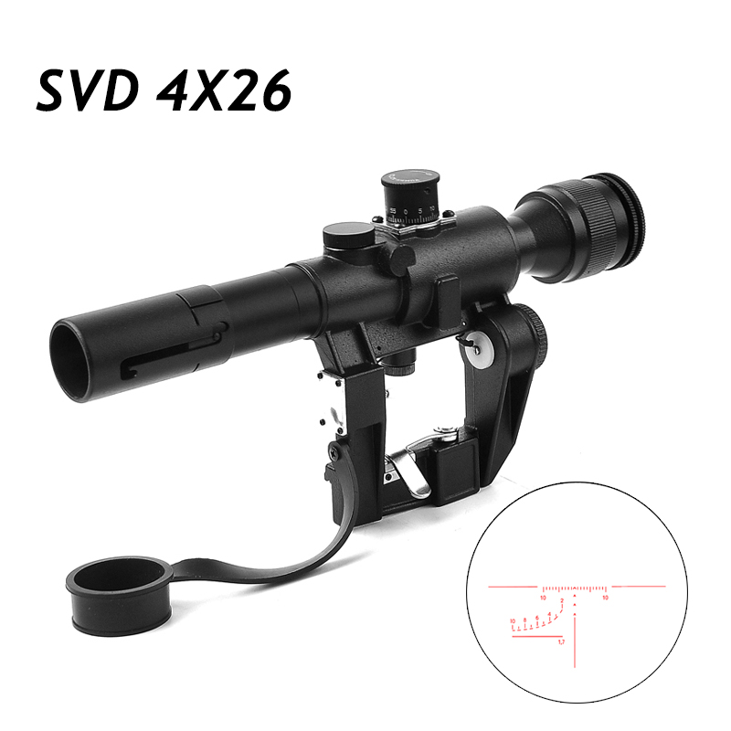 Tactical SVD 4X26 Optics Riflescope Dragunov Red Illuminated Sniper Rifle Scope Series AK Rifle Scope For Outdoor Hunting