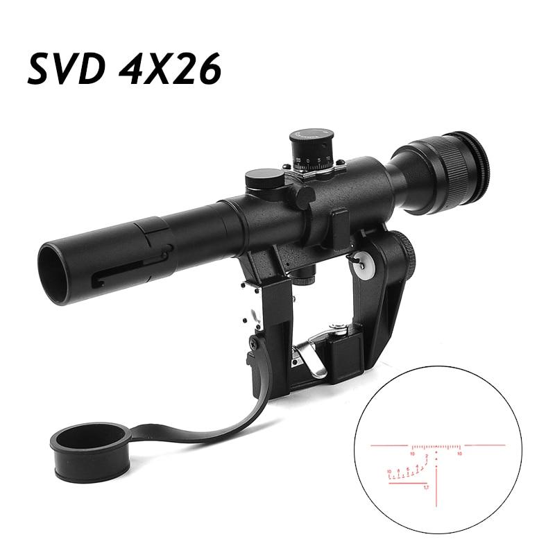 Tactique SVD 4X26 optique lunette de visée Dragunov rouge illuminé Sniper fusil portée série AK fusil portée pour la chasse en plein air