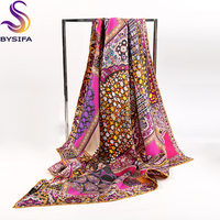 New Plant Flowers Pure Silk Twill Square Scarf Printed 90 90cm Fashion Accessories Ladies Silk Scarves