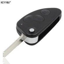 KEYYOU REPLACEMENT 3 BUTTON REMOT FLIP KEY CASE FOB FOR ALFA ROMEO 147 156 166 GT