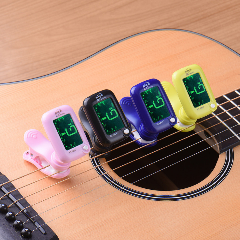 ENO Guitar Tuner Guitar Part Musical Instrument Clip on Style With Blue Green LCD Display Vibration