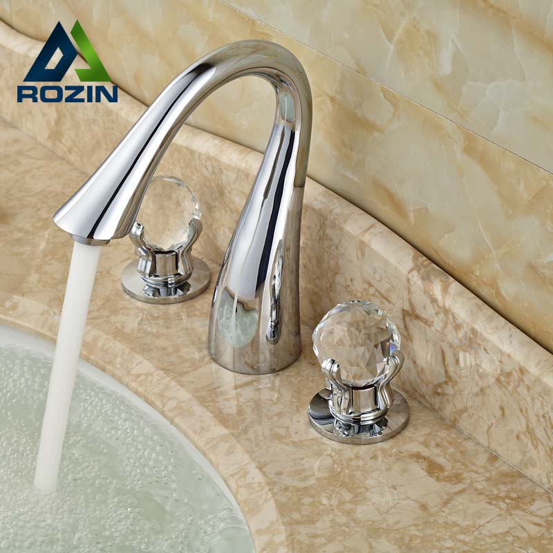 ФОТО Chrome Finish Deck Mounted Basin Vessel Mixer Taps Swan Shape Three Hole Dual Crystal Handle Faucet