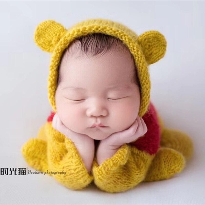 Newborn bear photography props,Handmade Bear mohair outfits for baby photography props (little brown bear Newborn)