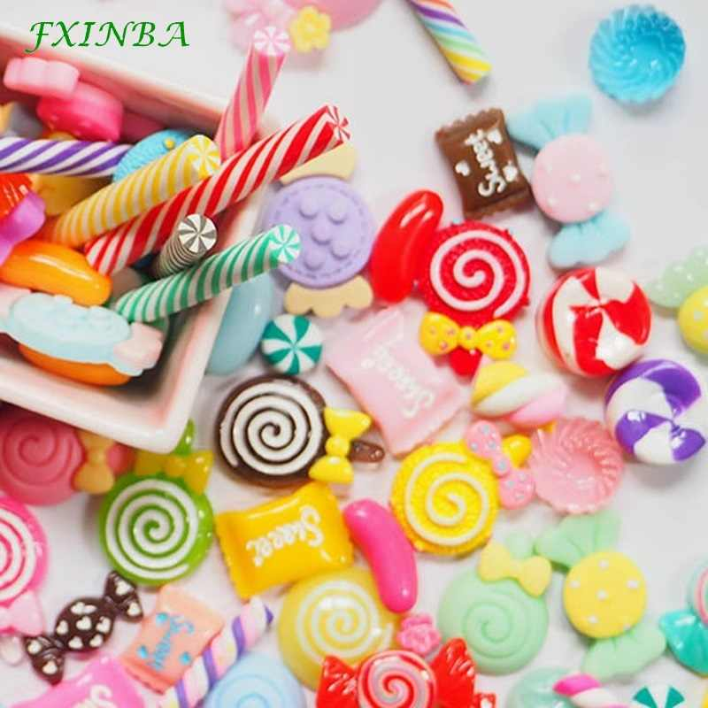 FXINBA 1/3/5/10pcs Lollipop Candy Charms For Slime Filler DIY Ornament Phone Decoration Resin Charms Lizun Slime Supplies Toys