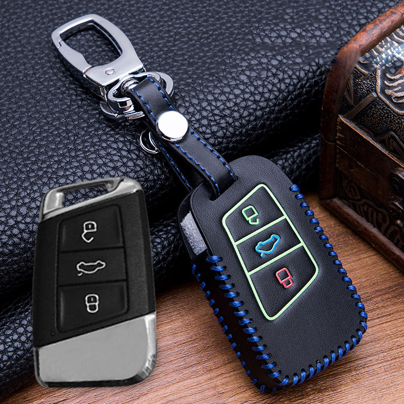 Image 3 - Hand sewing Luminous Leather key fob case holder for VW Skoda Superb Magotan Passat B8 A7 Golf Smart Remote Protector Skin Cover-in Key Case for Car from Automobiles & Motorcycles