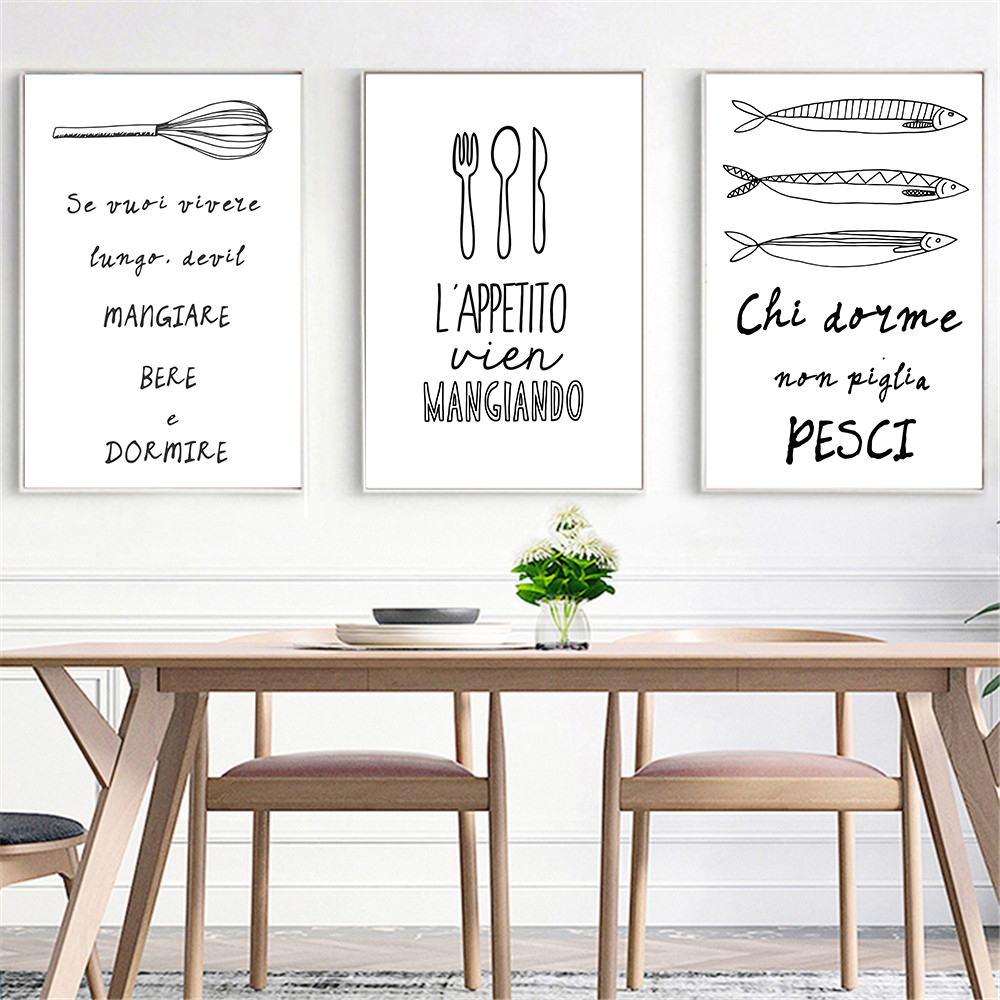 Tableware Modern Minimalist Black White Wall Art Cooking Quotes Poster  Nordic Kitchen Wall Art Home Decor Canvas Painting