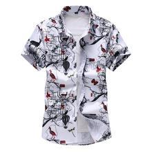 Tree Bird print Mens Shirts Floral Beach style Fashion Flower Men Shirt Blouse Navy blue white Summer