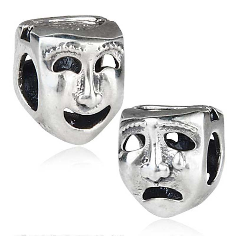 Authentic 925 Sterling Silver The Worlds a Stage Mask Charm Beads Fit Pandora Charms Bracelet