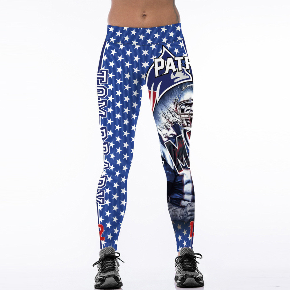 2017 New MVP New England Team Tom Brady Fitness Leggings Elastic Hiphop Party Cheerleader Rooter Workout