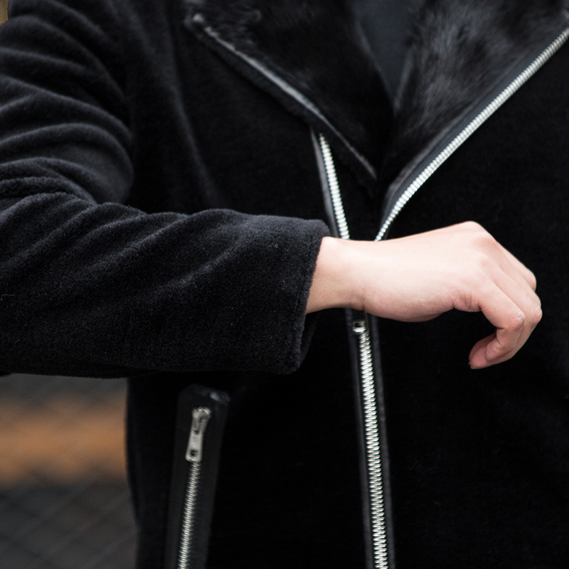 Vestes Manteau Hommes Col Court Pardessus Et De Vison Réel Mouton Black Manteaux Veste Fourrure Ayunsue Chaud Kj822 D'hiver Mens ORIdxqwCn