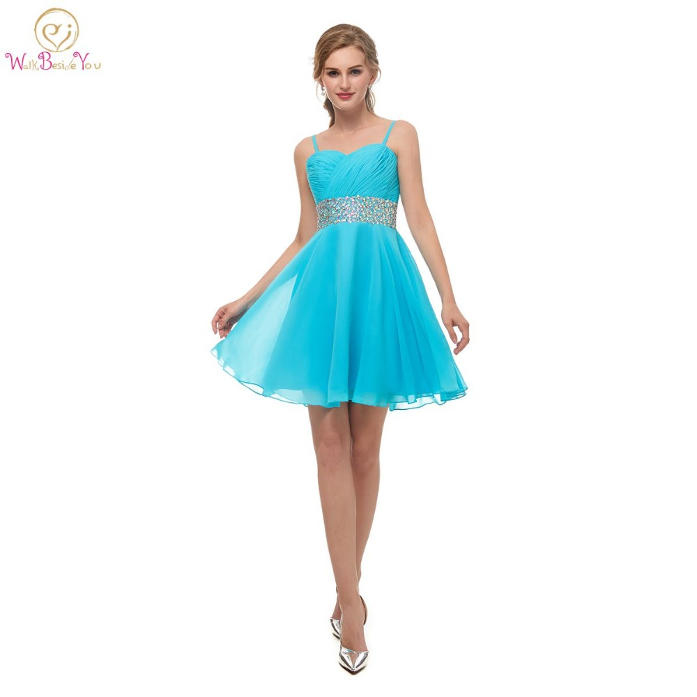 Walk Beside You Sky Blue   Cocktail     Dress   Beaded Waistband Spaghetti Straps Pleats Sweetheart Chiffon Short vestido coctel Stock