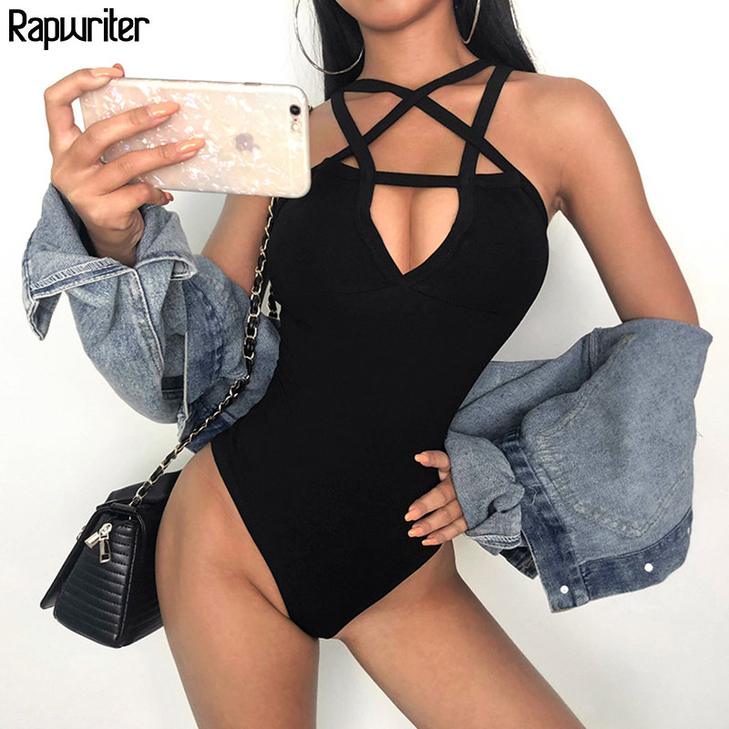 Rapwriter Sexy Backless Star Pattern Cross Bandage Skinny Bodysuits Women 2019 Spring Streetear Sleeveless Open Crotch Bodysuit
