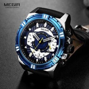 Image 2 - MEGIR גברים של עור רצועת צבא ספורט מקרית שעונים עמיד למים זוהר צבא שעוני יד איש Relogios Masculino שעון 2118 כחול