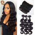 7A Mocha Hair Malaysian Virgin Hair Body Wave With Lace Frontal Closure With Bundles Maylasian Hair With Lace Frontal Weaves