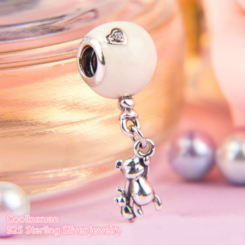 2018 Mother's Day 925 Sterling Silver Teddy & Balloon Dangle Charm Beads Fit Original Pandora Charms Bracelet DIY beads jewelry