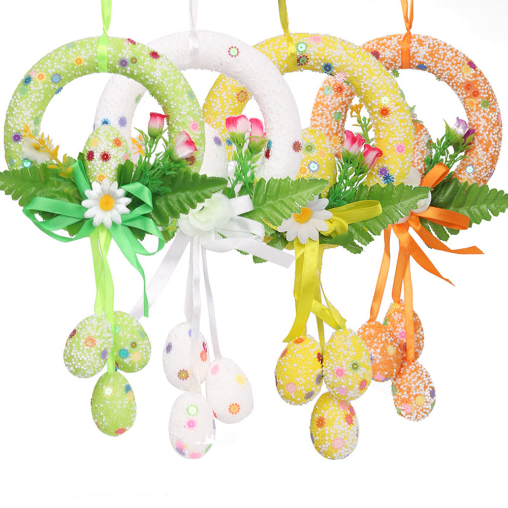 New Home Decor Wreath Easter Party Decoration Door Creative Winder Flowers Easter Eggs Rattan Wreath Wall Craft Ornaments