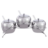 Flavor Seasoning Box 3pcs Set Stainless Steel Spice Jar Salt MSG Curry Bottles Jars Metal Jar