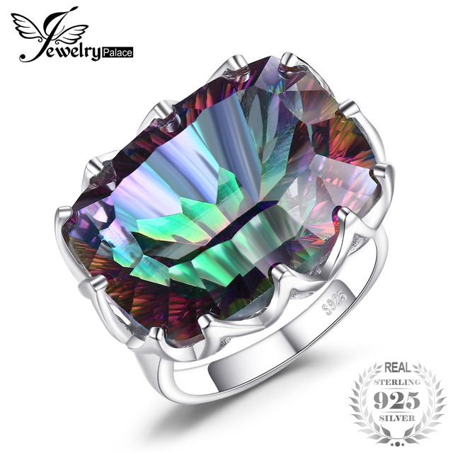 Jewelrypalae Gem Stone 23ct Genuine Rainbow Fire Mystic Topaz Ring Pure Solid 92