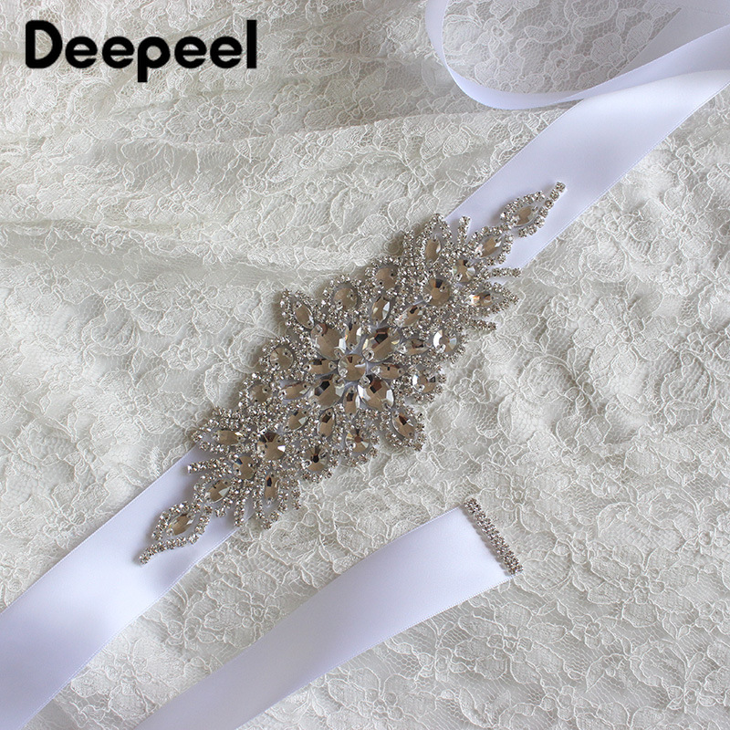 Deepeel 1pc 270X4cm High-end Luxury Rhinestone Cummerbunds Silk Crystal Decoration Belt Manual Crafts Wedding Dress Accessories