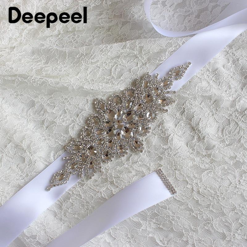 Deepeel 1pc 270X4cm High-end Luxury Rhinestone Cummerbunds Silk Crystal Decoration Belt Manual Crafts Wedding Dress Accessories