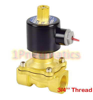 Free Shipping 3/4'' Brass NORMALLY OPEN Wire Lead Air Water Electric Solenoid Valve Water Air N/O 220VAC 2W200-20-K