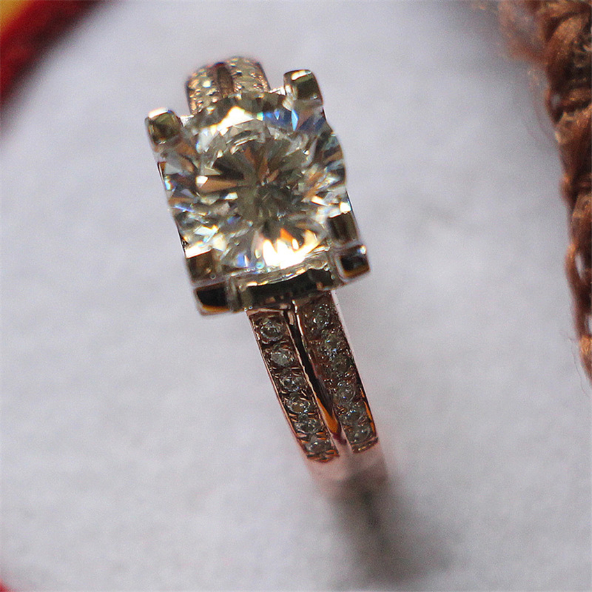 Separazione Dei colori 925 Sterling Silver Ring Oro Bianco Punte di Colore Rosa Color Oro Impostazione 1Ct Sintetico Anello di Diamanti-in Anelli di fidanzamento da Gioielli e accessori su  Gruppo 2