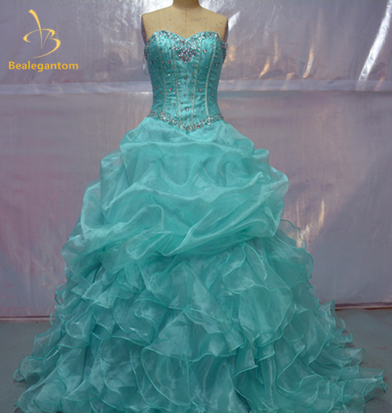 New Stock Organza Ruffled Beaded Sweetheart Neck Pink Quinceanera Dresses 2019 Ball Gowns Dress15 Years Vestidos De 15 Anos W42
