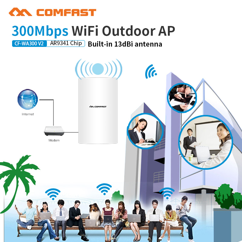все цены на Outdoor Wifi Router 300Mbps wifi Repeater 2.4G Wireless Wifi Amplifier Extender Waterproof router 13dbi Antennas signal amplifi онлайн