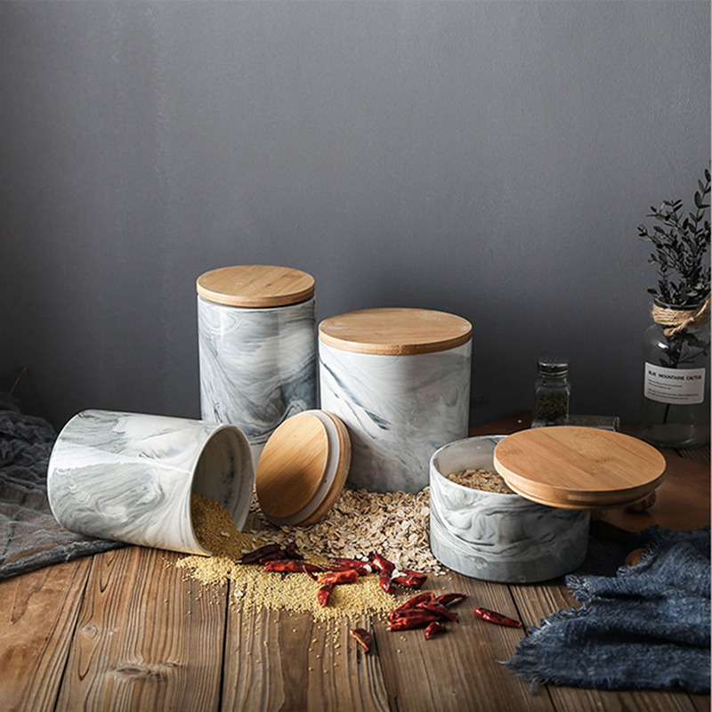 Nordic Style Creative Tea Storage Jars With Wood Lid Stone Pattern Coffee Tea Cans Sugar Container Tank For Kitchen Tea Box Pot