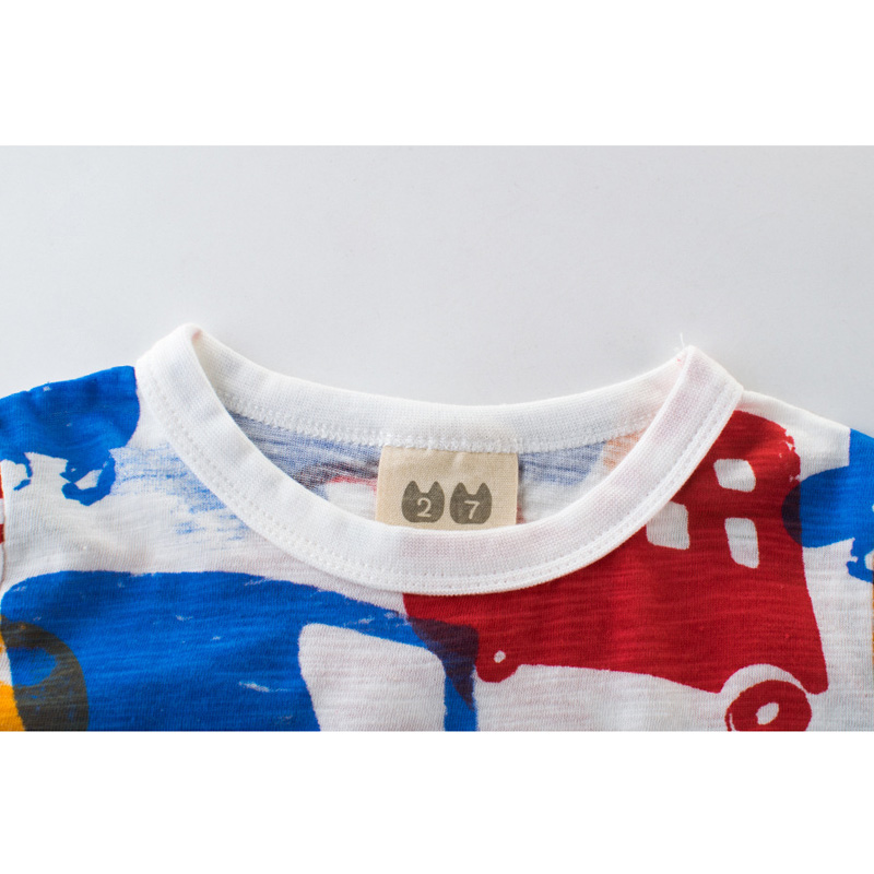 HziriP 2018 Summer Tops Kids Boy Printing Car Tops O-neck Short Sleeve Cotton T Shirt Casual Cute Children Boys T-shirt Cothe