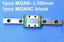 1pcs 9mm linear rail guide MGN9 100mm with mini MGN9C linear block high quality mgn9h or mgn9c block for mgn9 mr9 9mm linear guide 9mm linear rail way long linear carriage for cnc parts free
