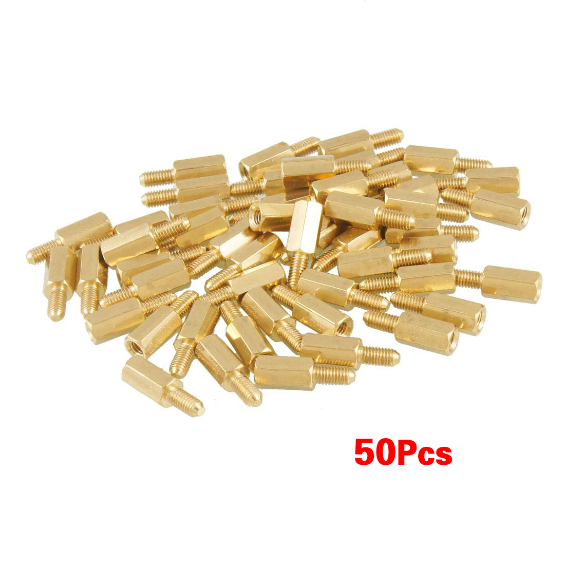 Promotion! 50 Pcs Brass Screw Thread PCB Stand-off Spacer M3 Male X M3 Female 6mm
