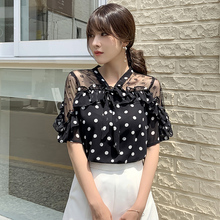Elegant Women's Shirt Chiffon Blouse Short Sleeve Shirt Polka Dot Print Top Fashion Woman Blouses 2019 цена в Москве и Питере