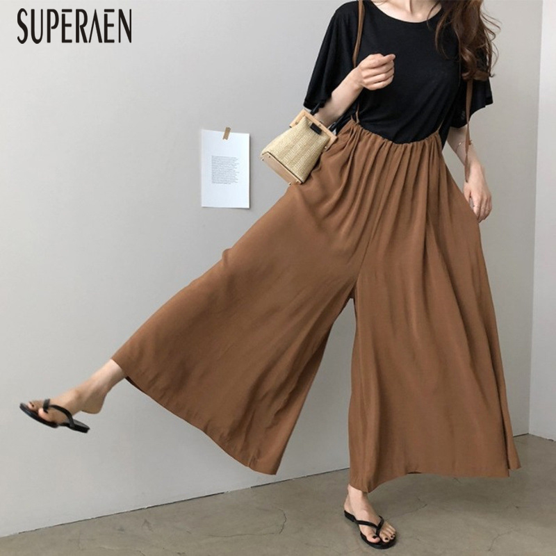SuperAen 2019 Spring and Summer New Chiffon Overalls High Waist Casual Wild   Pants   Women Loose Pluz Size   Wide     Leg     Pants