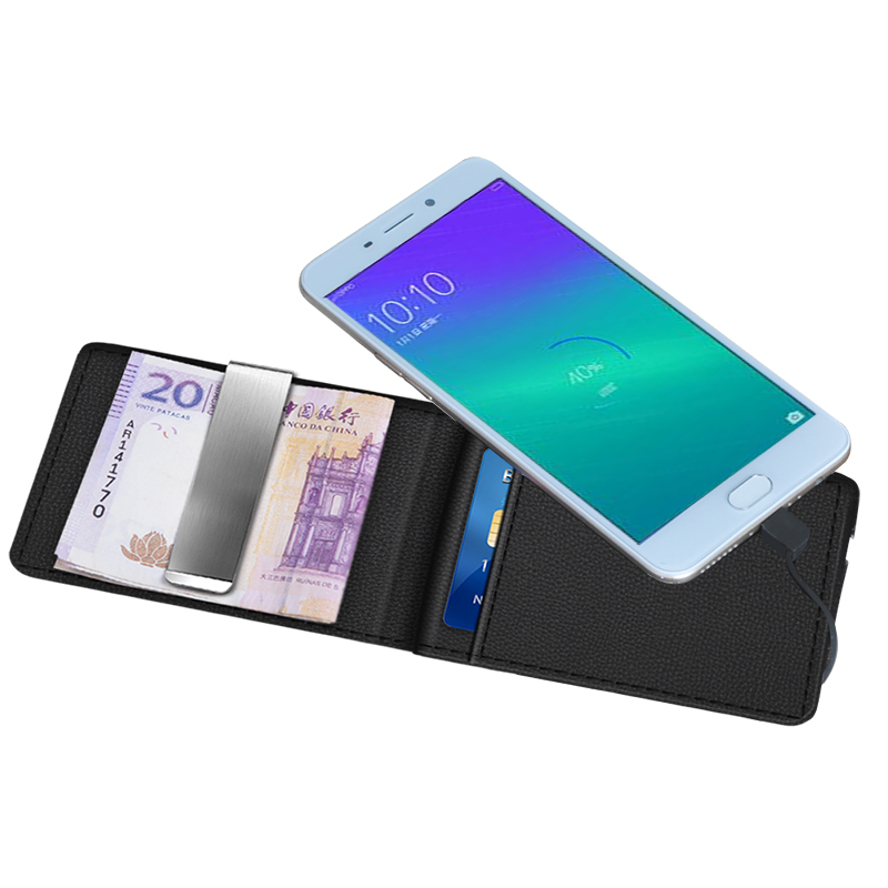 Leather Case Card Bag Wallet Power Bank 2600mAh Battery Power For Android Phones Portable Power Charger For IPhone For Samsung