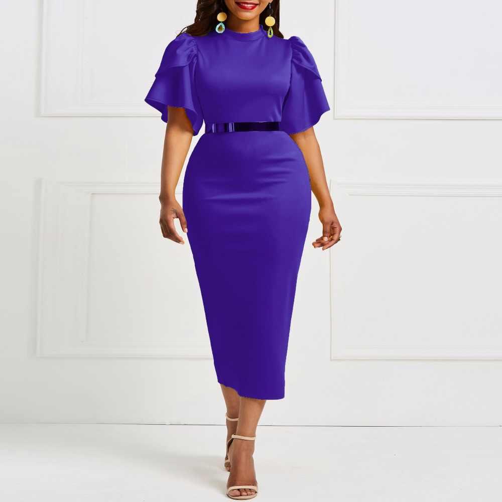 8dfcb1b82f6 ... Kinikiss 2018 women office dress ladies yellow dress working girl ruffle  zipper plus size evening summer ...